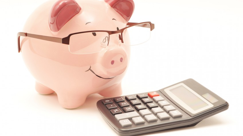 Pink Piggy Bank With Calculator