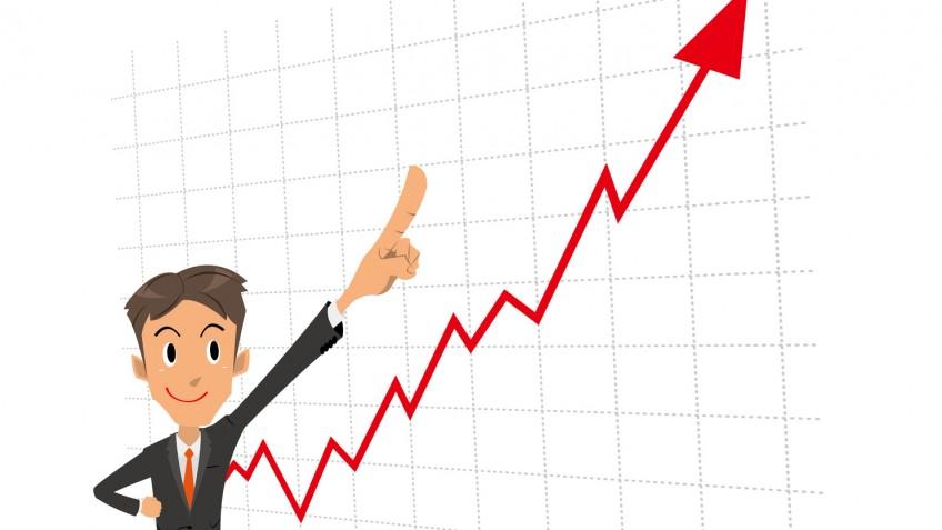 ビジネスマン 指差し グラフ