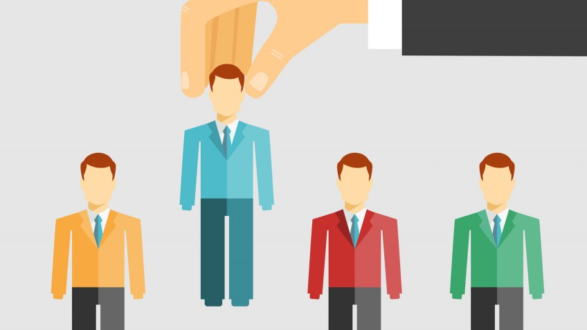 Vector illustration conceptual of human resources management with a businessman selecting a candidate from job applicants for hiring  promotion or dismissal