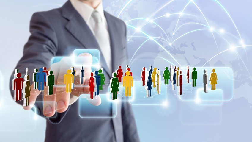 businessman connect to social network