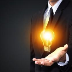 Light bulb in man hand