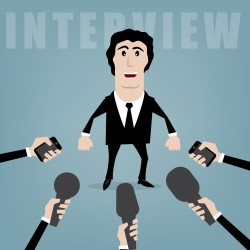 vector businessman giving an interview to journalists