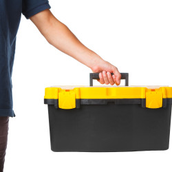 tool box in hand isolated on white