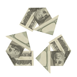 One Hundred Dollar Bills ina Recycle Symbol Isolated on White Background.